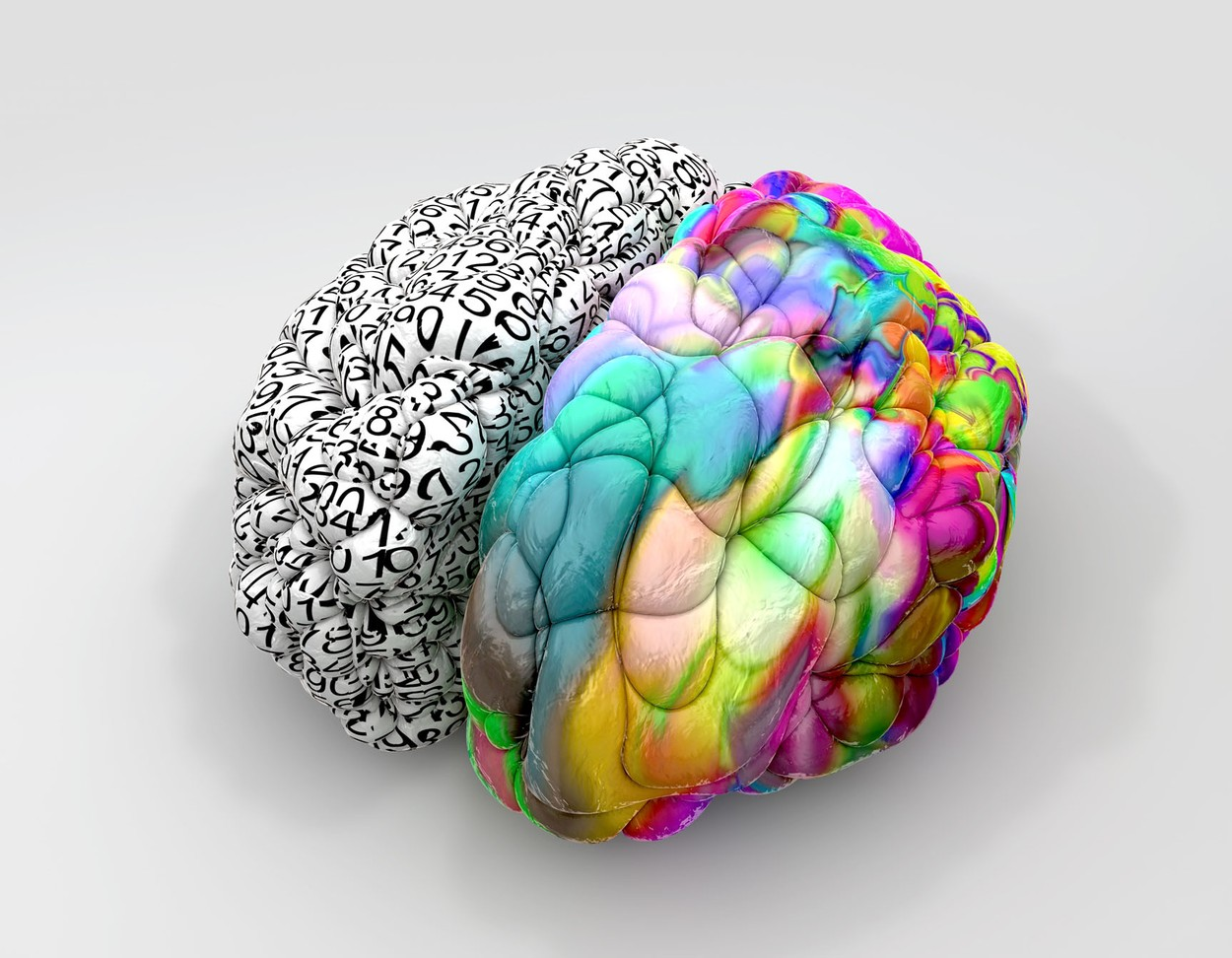 A typical brain with the left side depicting an analytical, structured and logical mind, and the right side depicting a scattered, creative and colorful side on an isolated background, Image: 160089064, License: Royalty-free, Restrictions: , Model Release: no, Credit line: Profimedia, Alamy