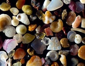 Grãos de areia ampliados 250x